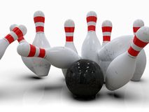 Free Bowling Ball Hitting All Pins, In A Strike, White Background Royalty Free Stock Image - 143127656