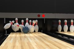 Bowling ball hitting all 10 pins, in a Strike. Detail of bowling alley, with action shot of bowling ball hitting all the ten pins, scoring a strike. Pins in stock illustration