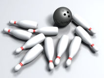 Bowling ball hitting the pins. 3d bowling ball hitting the pins Royalty Free Stock Photo