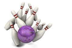 Bowling Ball Hitting Pins for a Strike Royalty Free Stock Photography
