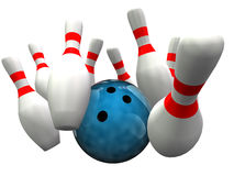 Bowling ball hitting skittles Stock Images