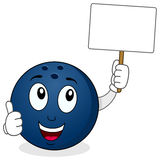 Bowling Ball Holding a Blank Banner Stock Image