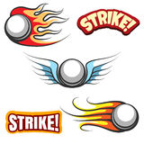 Bowling ball icons. Vector bowling ball with wings and the word strike Stock Image