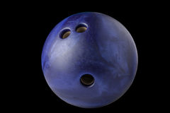 Bowling ball isolated on black background. Bowling ball blue color isolated on black background Stock Photo