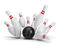 Bowling. Ball kills. 3d image. White background Royalty Free Stock Image