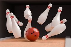 Bowling ball is knocking down pins Strike. 3D rendered illustration.  Royalty Free Stock Photos