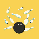 Bowling ball in motion. Scatter pins. Vector cartoon illustration Stock Images