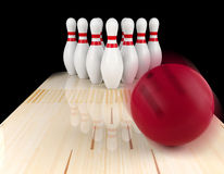 Bowling ball moving straight to bowling pin. Indoor sport concept. 3D rendering Royalty Free Stock Photo