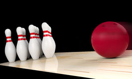 Bowling ball moving straight to bowling pin. Indoor sport concept. 3D rendering Stock Image