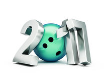 Bowling Ball 2017 new year. On white background. 3d Illustrations Royalty Free Stock Photos