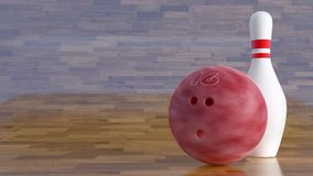 Bowling ball number 16 and one pin. Pink Bowling ball laying on a curved floor, right aligned to allow text displacement on the left side. Perfect for image Royalty Free Stock Image