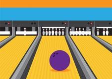 Bowling Ball On Lane Vector Illustration