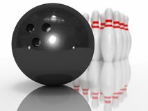 Bowling ball and pin. 3D rendered bowling scene with ball and pin Royalty Free Stock Photos
