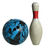 Bowling Ball and Pin. Vintage white bowling pin and ball isolated over white background Stock Photo