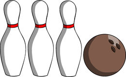 Bowling ball and pin Royalty Free Stock Image