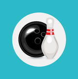 Bowling ball and pin flat design Stock Image