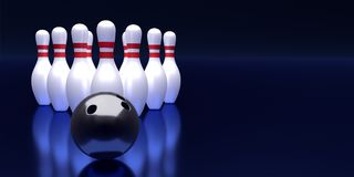 Bowling ball and pin template. Tv size banner. 3D rendering.  Royalty Free Stock Photo