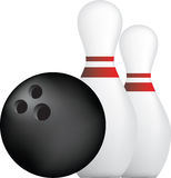 Bowling ball and pins. Simple icon style illustration of bowling ball and pins Royalty Free Stock Photo