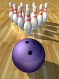 Bowling ball and pins Royalty Free Stock Photos