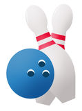 Bowling Ball and Pins Stock Image
