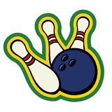 Bowling ball with pins. Bowling ball hitting a couple of bowling pins Royalty Free Stock Photos