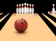 vector bowling ball and pins Stock Photos