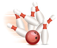 vector bowling ball and pins Royalty Free Stock Image