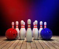 Bowling ball and pins background Stock Photo