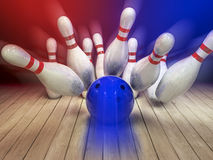 Bowling ball and pins background Stock Images