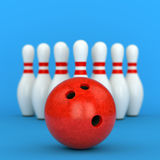 Bowling ball and pins on blue background. Bowling ball and ten pins with red stripes on blue background. 3D illustration Stock Photography