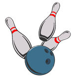 Bowling ball and pins vector illustration