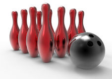 Bowling ball and pins. 3D rendered illustration of a bowling ball and red reflective pins Royalty Free Stock Image