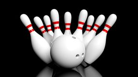 Bowling ball and pins Stock Photography