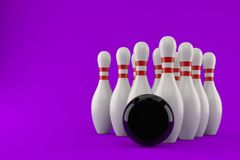 Bowling ball with pins. Isolated on purple background. 3d illustration Stock Photo