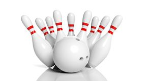 Bowling ball and pins. Isolated on white background Royalty Free Stock Image