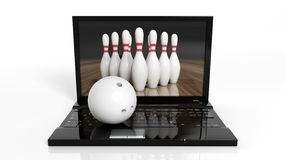 Bowling ball and pins on laptop Stock Photos