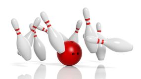 Bowling ball and pins in motion Stock Photography