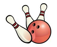 Bowling ball with pins Stock Photo