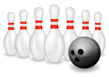 Bowling ball and pins Stock Photos