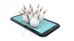 Bowling ball and pins set on tablet screen Stock Photos