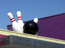 Bowling Ball and Pins Sign Stock Images
