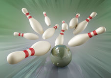 Bowling ball and pins Royalty Free Stock Photography