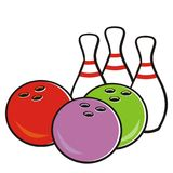 Bowling ball and pins, vector icon for sport game tournament Royalty Free Stock Photo