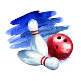 Bowling ball and pins. Watercolor hand drawn illustration stock illustration
