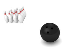 Bowling ball and pins on white background. 3d Royalty Free Stock Photography