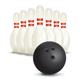 Bowling Ball and Pins  on White Stock Photos