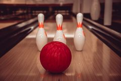 The bowling ball is ready to strike. In sport center royalty free stock photos
