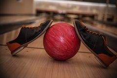 The bowling ball is ready to strike. In sport center royalty free stock photography
