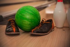 The bowling ball is ready to strike. In sport center royalty free stock image