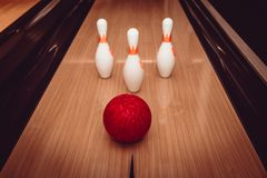 The bowling ball is ready to strike. In sport center royalty free stock photo